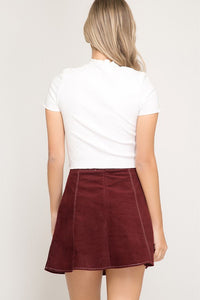 Burgundy Contrast Stitch Mini Corduroy Skirt