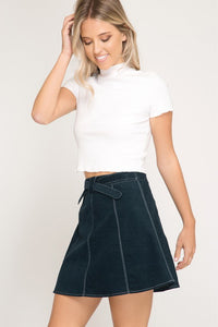 Teal Contrast Stitch Mini Corduroy Skirt