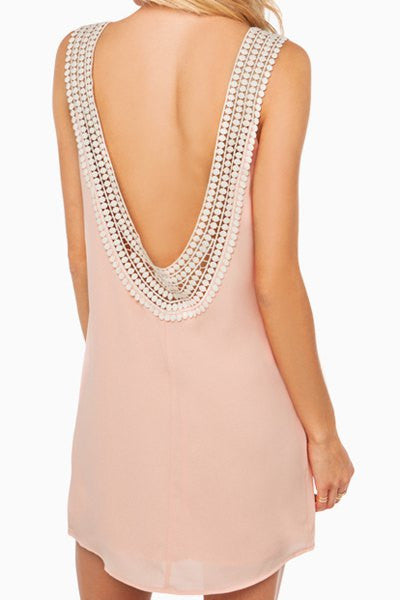 Pink Open Back Chiffon Short Dress