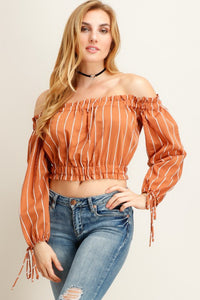 Orange Stripe Off Shoulder Long Sleeve Top