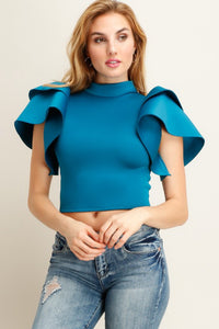 Teal Rose Panels Design Sleeve Scuba Knit Top