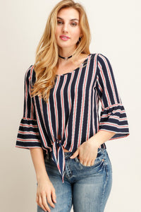 Navy Stripe Bell Sleeve Top