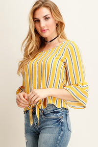 Yellow Stripe Bell Sleeve Top