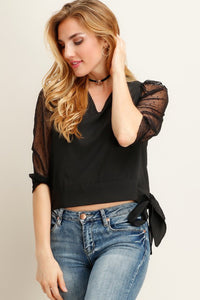 Black Mesh Sleeve Top