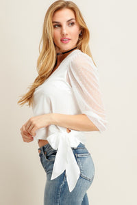 Ivory Mesh Sleeve Top