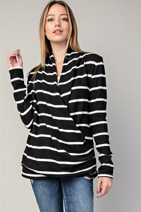 Black Fleece Strip Wrap Top