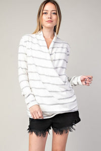 White Fleece Strip Wrap Top