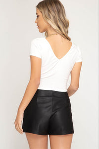 Black Faux Leather Textured Shorts