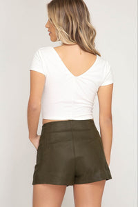 Oliver Green Faux Leather Textured Shorts