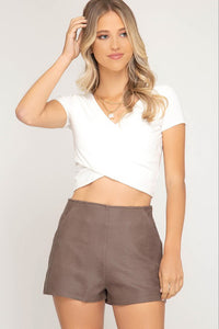 Taupe Faux Leather Textured Shorts