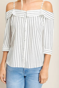 Strap Pattern Off Shoulder Top
