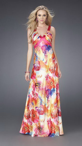Coral Bright Flower Print Satin Long Dress
