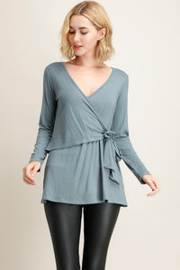 Blue Solid Surplice Wrap Top