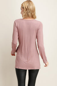 Mauve Solid Surplice Wrap Top