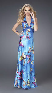 Blue Butterfly Print Halter Long Satin Dress