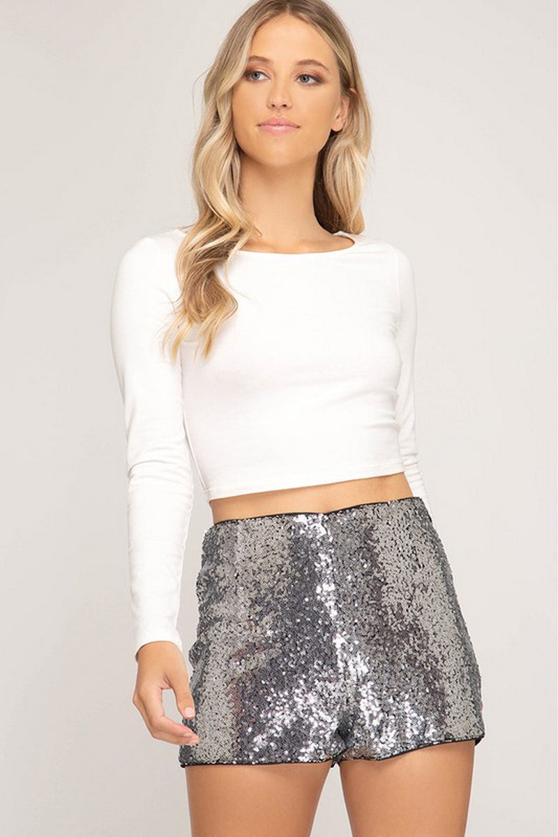 Silver Sequin Side Zipper Shorts