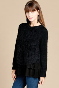Black Layered Chevron Detail Sweater Top