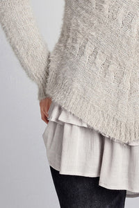 Taupe Layered Chevron Detail Sweater Top