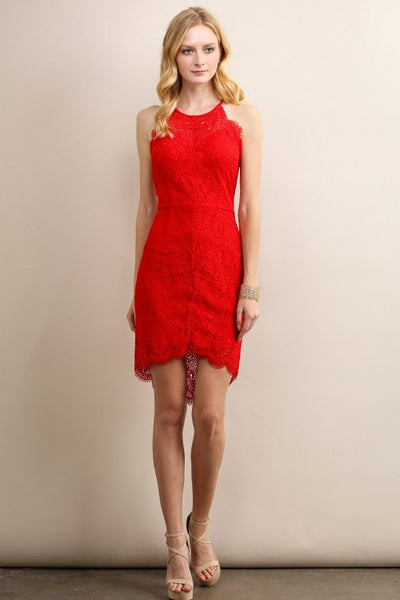 Red Strap Asymmetrical Hem Lace Cocktail Dress