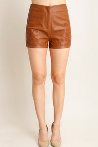 Brown Embroidered Detail Faux Leather Shorts