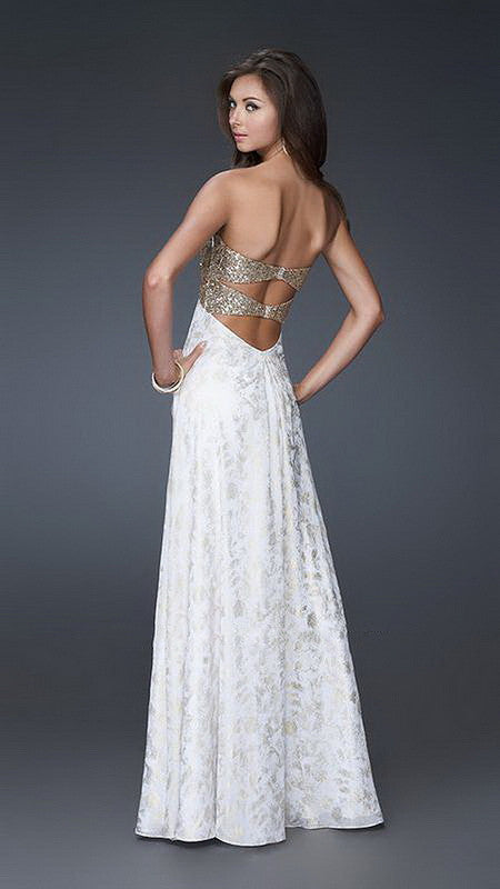 Gold Sequin Top On White Long Dress