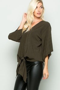 Olive Green Woven Front Tie Top