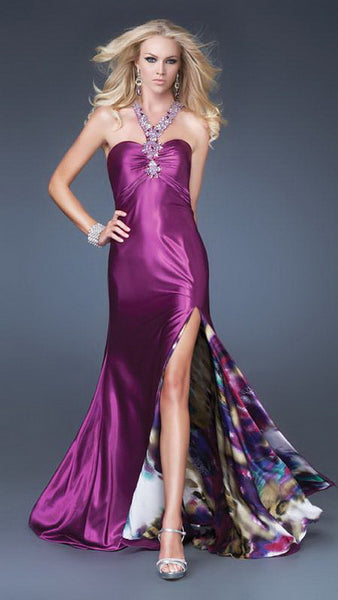 Purple Beaded Y Strap Satin Colorful Lining Long Dress