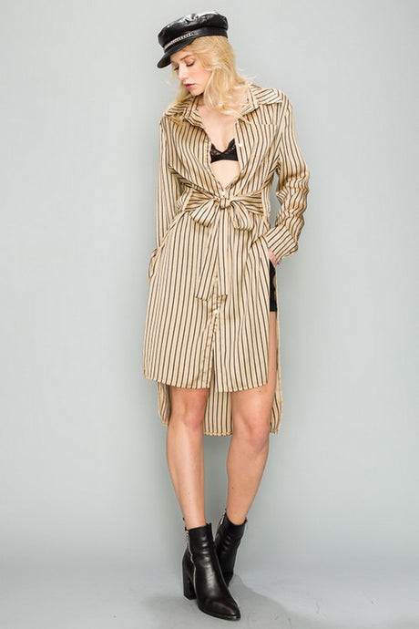 Gold Stripe Button Long Shirt Top With Slit Sides