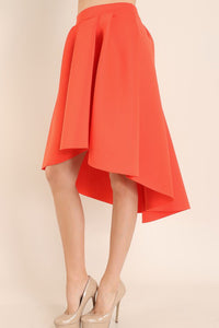 Orange Hi Low Solid Circle Skirt