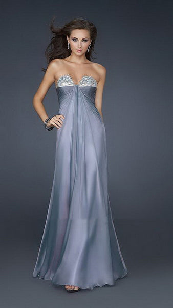 Grey Stones Bust Line Strapless Chiffon Long Dress