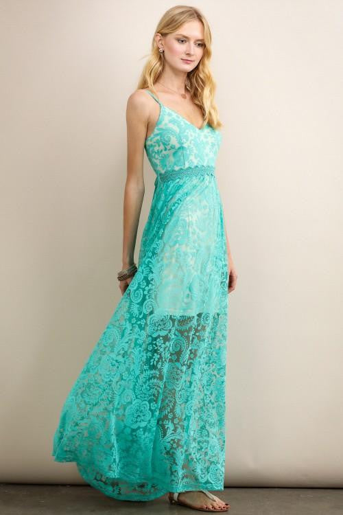 Teal See-Through Lace On White Maxi Dress