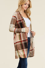 Taupe Plaid Open Front Cardigan