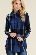Navy Long Sleeves Cowl Neck Plaid Print Top