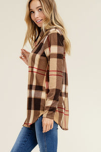 Taupe Long Sleeves Cowl Neck Plaid Print Top