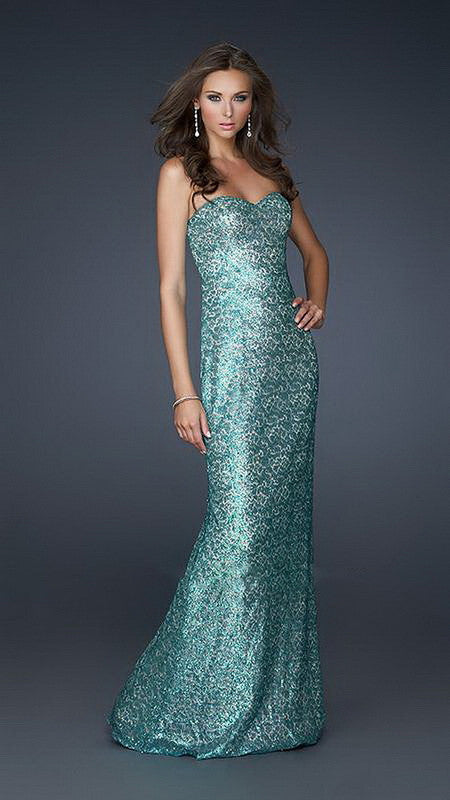 Pearl Green Full Sequin Sweetheart Neckline Long Dress