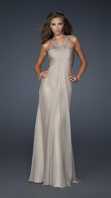 Beige Elegant Beaded V-Strap Chiffon Halter Top Long Dress