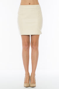 High Waisted Front Faux Leather Pencil Skirt