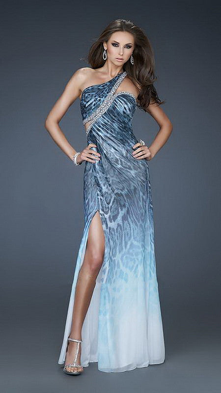 Deep Ocean Blue Print Beaded And Sequin One Shoulder Long Dress