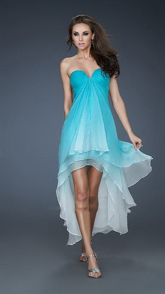 Aqua Cascading Chiffon Layers Ombre High-Low Dress