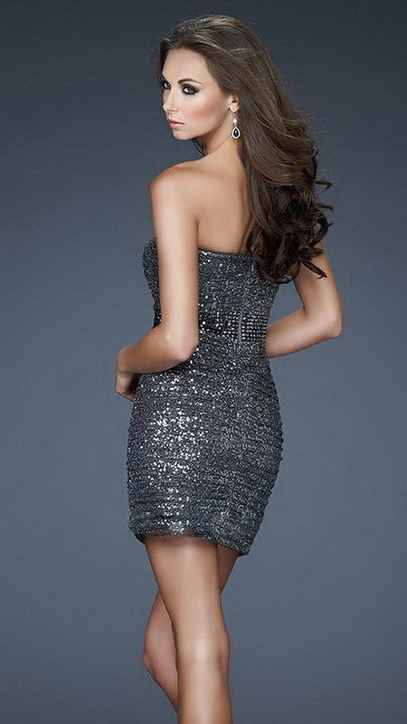 Charcoal Heavy Sequin Tube Dress