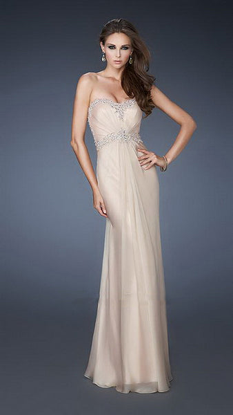 Beige Detailed Beaded Amazing Illusion Back Chiffon Long Dress