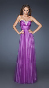Lavender Glittering Stone Sweetheart Necklin Two Tone Net Long Dress
