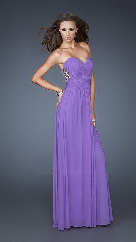 Purple Lattice Patterned Beaded Back Long Dress