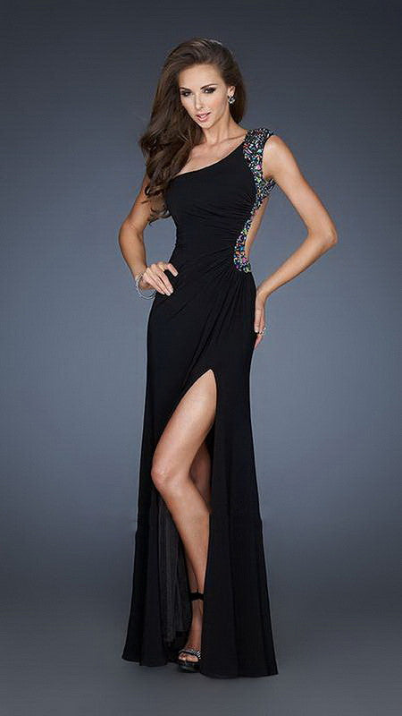 Black High Front Slit One Shoulder Beaded Jersey Long Dress