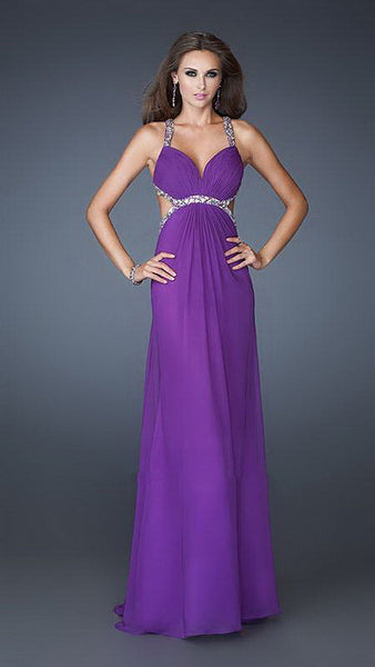 Purple Deep Sweetheart Neckline Beaded Trims Long Dress