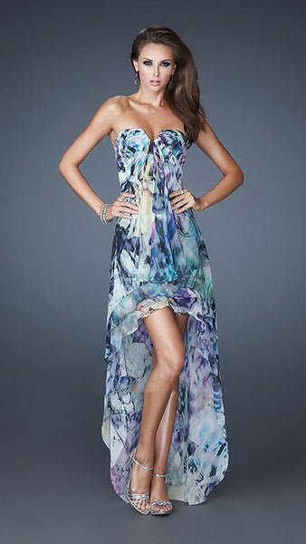 Blue Cascading Chiffon Layers Print High-Low Dress