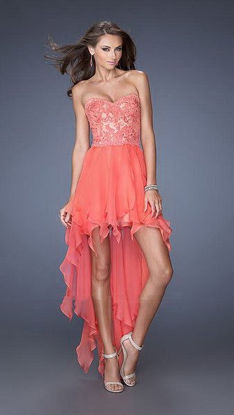 Coral Elegant Lace Overlay High-Low Dress
