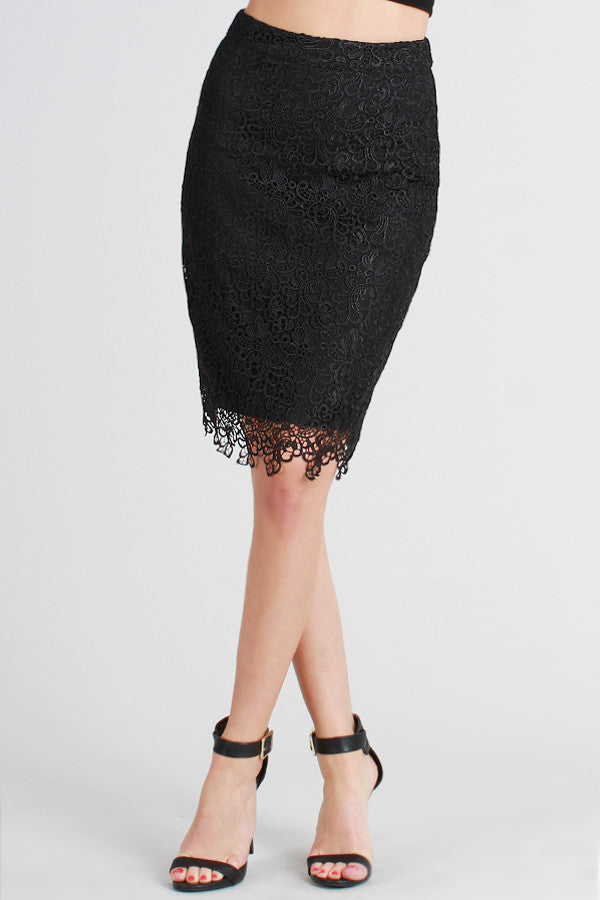 Black Lace Overlay Pencil Skirt