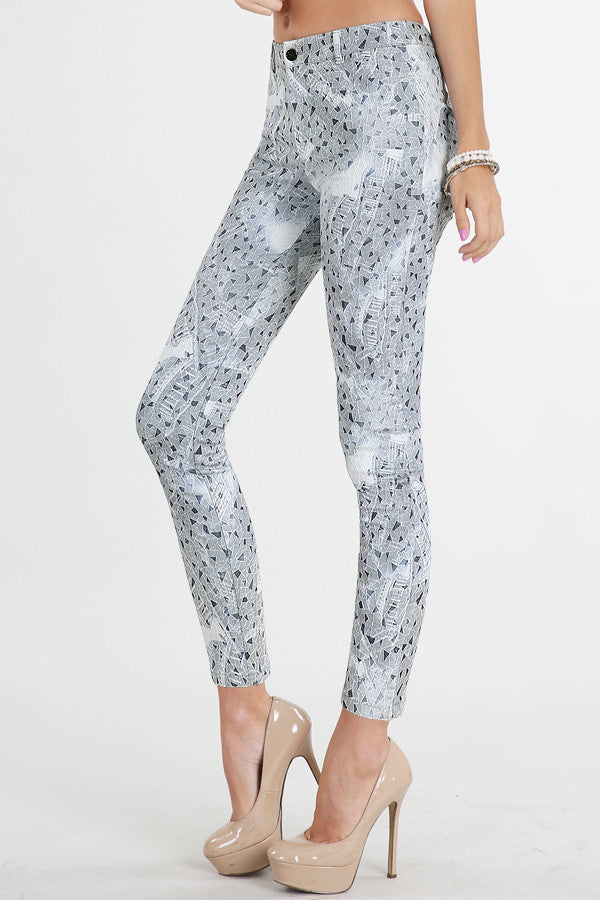 Denim Grey Geo-Pattern Skinny Pants