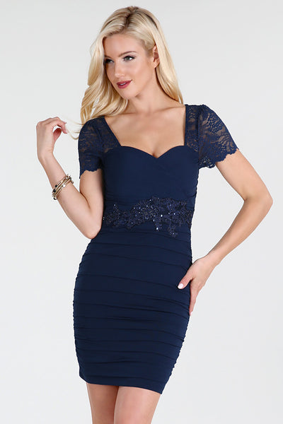 Navy Beaded Waist Ruched Dress